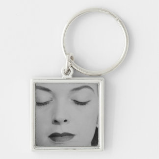 Mature Woman 2 Silver-Colored Square Key Ring