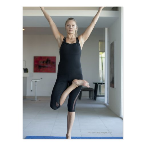 Mature woman exercising 2 post cards
