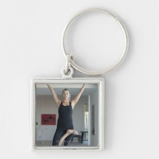 Mature woman exercising 2 Silver-Colored square key ring