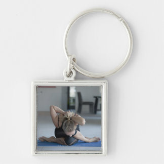 Mature woman exercising 3 Silver-Colored square key ring