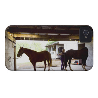 Mature Woman looking after horse iPhone 4 Cover