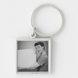 Mature Woman Silver-Colored Square Key Ring