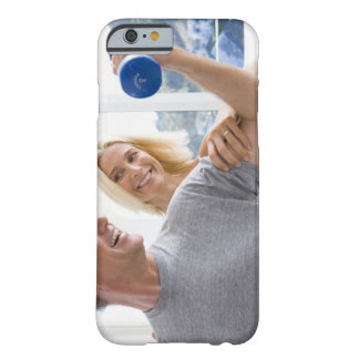 Mature woman smiling at mature man lifting barely there iPhone 6 case