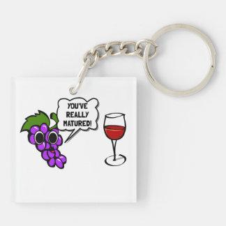 Matured Wine Double-Sided Square Acrylic Key Ring