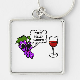 Matured Wine Silver-Colored Square Key Ring