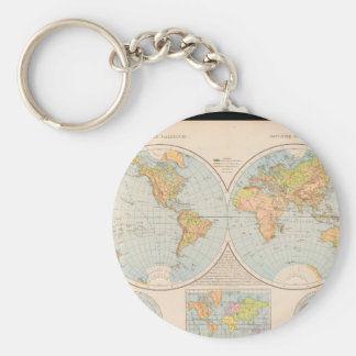 Matured World Map 28 Basic Round Button Key Ring