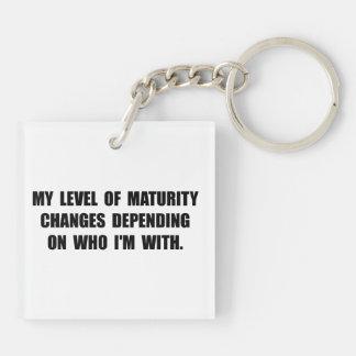 Maturity Level Double-Sided Square Acrylic Key Ring