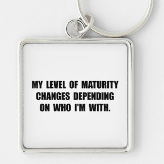 Maturity Level Silver-Colored Square Key Ring