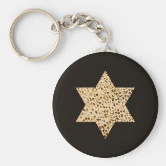 Matzah Star of David Basic Round Button Key Ring