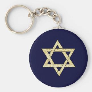 Matzoh Star of David Basic Round Button Key Ring