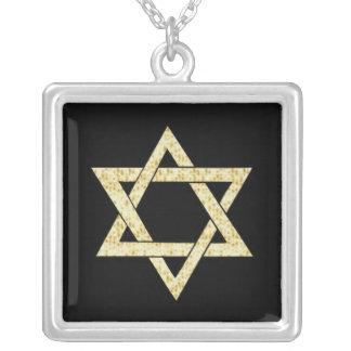 Matzoh Star of David Square Pendant Necklace
