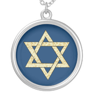 Matzoh Star of David Round Pendant Necklace