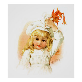 Maud Humphrey: Autumn Girl with Maple Leafs Poster