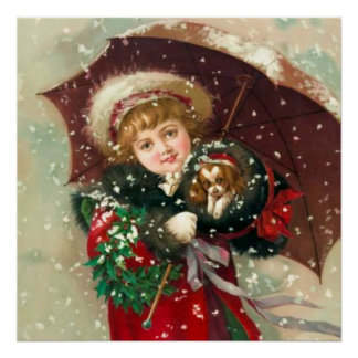Maud Humphrey s Winter Girl with dog Poster