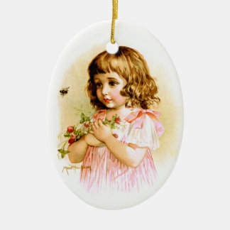 Maud Humphrey: Summer Girl with Flowers and Bee Christmas Ornament