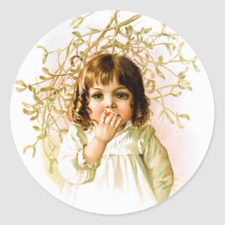 Maud Humphrey: Winter Girl under Mistletoe Classic Round Sticker