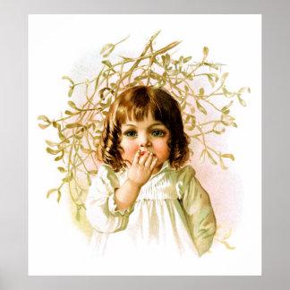 Maud Humphrey: Winter Girl under Mistletoe Poster