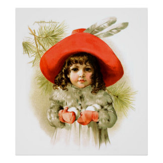 Maud Humphrey: Winter Girl with Snowballs Poster