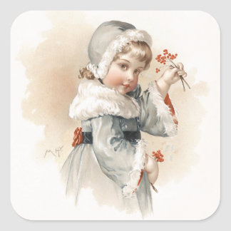 Maud Humphrey's Winter Girl Square Sticker