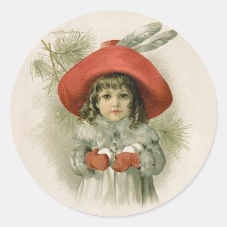 Maude Humphrey Girl and Snowballs Classic Round Sticker