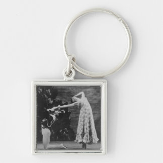 Maude Lloyd and Hugh Laing Silver-Colored Square Key Ring