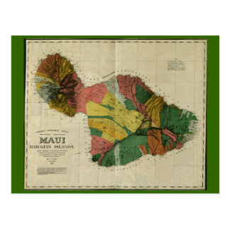 Maui, 1885, Vintage Hawaii Map Postcard