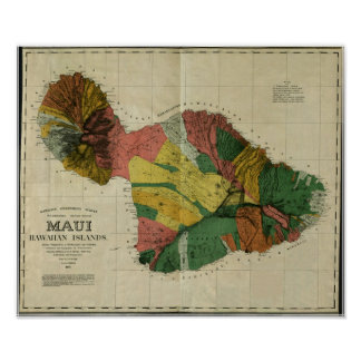Maui, 1885, Vintage Hawaii Map Poster
