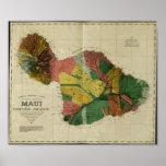 Maui, 1885, Vintage Hawaii Map Print