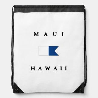 Maui Hawaii Alpha Dive Flag Drawstring Bags