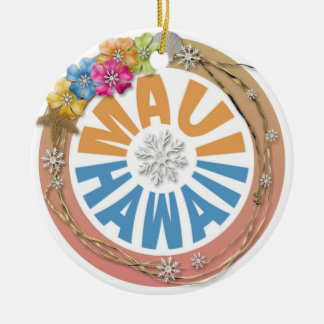 Maui Hawaii hibiscus holiday ornament