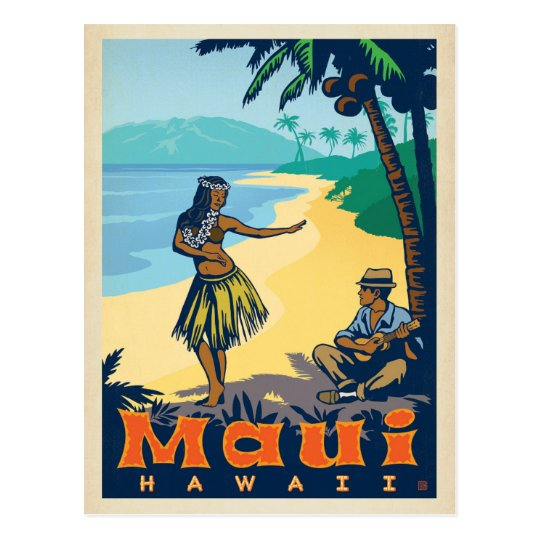 Maui Hawaii Hula Girl Amp Ukele Postcard Zazzle Co Uk