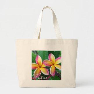 Maui Hawaii Plumeria Flowers Canvas Bags
