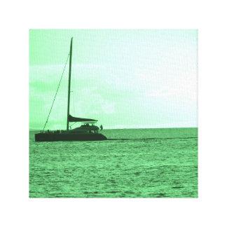 Maui, Hawaii Sunset Photo (Green) Canvas Print