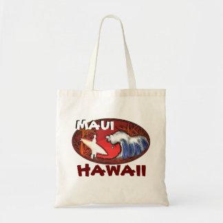 Maui Hawaii surfer waves art beach bag