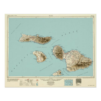 Maui, Hawaii--Vintage 1954 Map Poster