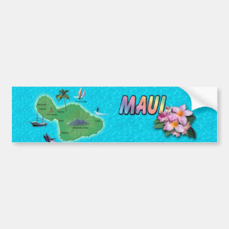 Maui Map Bumper Sticker