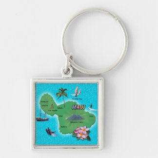 Maui Map Silver-Colored Square Key Ring