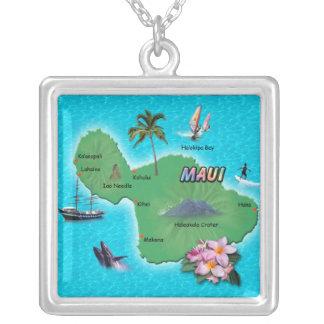 Maui Map Square Pendant Necklace
