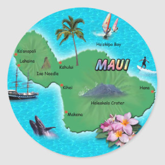 Maui Map Round Sticker