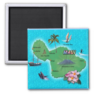 Maui Map Square Magnet
