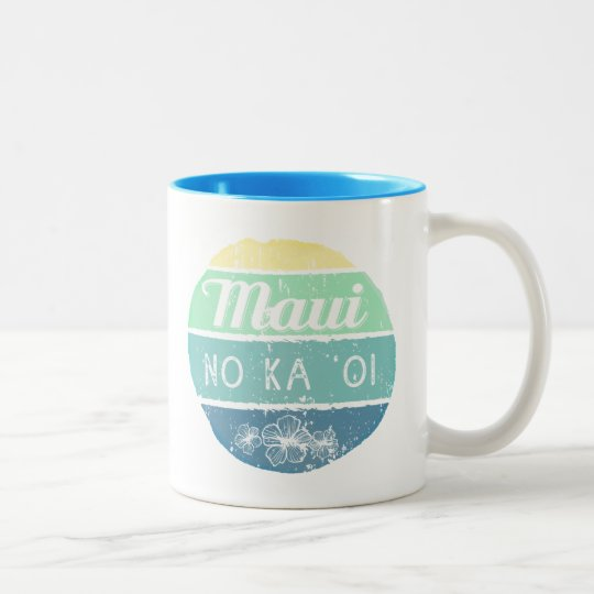 Maui No Ka Oi Vintage Typography Two-Tone Coffee Mug