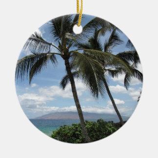 Maui Palm Trees Round Ceramic Decoration