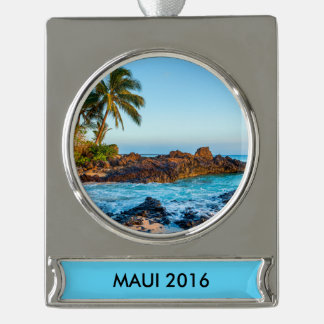 Maui Silver Plated Banner Ornament