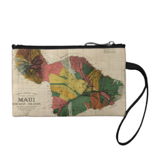 Maui - Vintage Antiquarian Hawaii Survey Map, 1885 Change Purses
