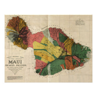 Maui - Vintage Antiquarian Hawaii Survey Map, 1885 Personalized Flyer