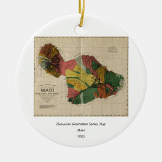 Maui - Vintage Antiquarian Hawaii Survey Map, 1885 Round Ceramic Decoration