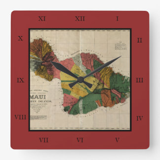 Maui - Vintage Antiquarian Hawaii Survey Map, 1885 Square Wall Clock