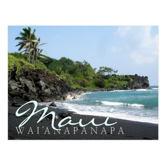 Maui Wai'anapanapa black sand beach text postcard