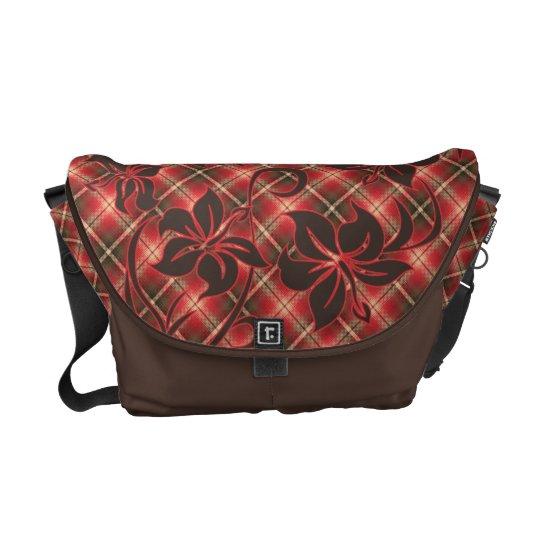 Mauna Loa Hawaiian Hibiscus Plaid Courier Bag