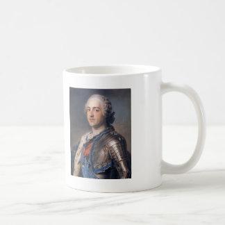 Maurice de La Tour- Portrait of King Louis XV Basic White Mug
